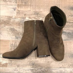 "Bar III Olive Green ""Gatlin"" Block Heel Booties"